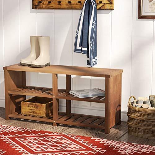Amazon.com: Rackmyshoe - Zapatero de teca con estantes de ...