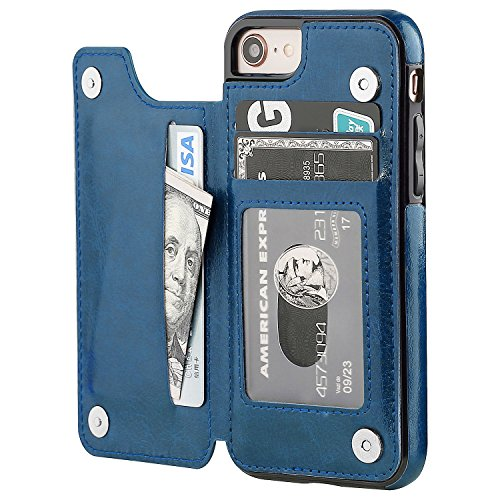 iPhone 8 Wallet Case with Card Holder,OT ONETOP iPhone 7 Case Wallet Premium PU Leather Kickstand Card Slots,Double Magnetic Clasp and Durable Shockproof Cover 4.7 Inch(Blue) (Iphone 7 Phone Case With Card Holder)