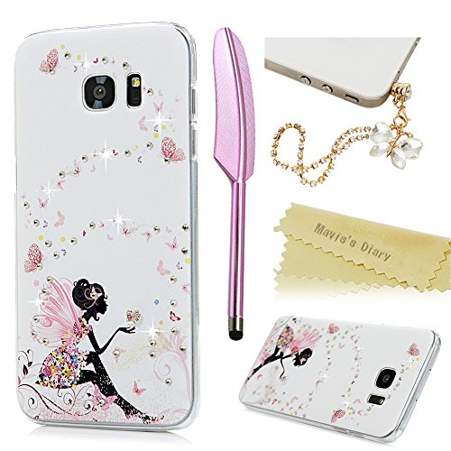 S7 Edge Case,Samsung Galaxy S7 Edge Case – Mavis's Diary 3D Handmade Bling Crystal Shiny Sparkle Diamonds with Butterfly Fairy Colorful Flowers Dress …