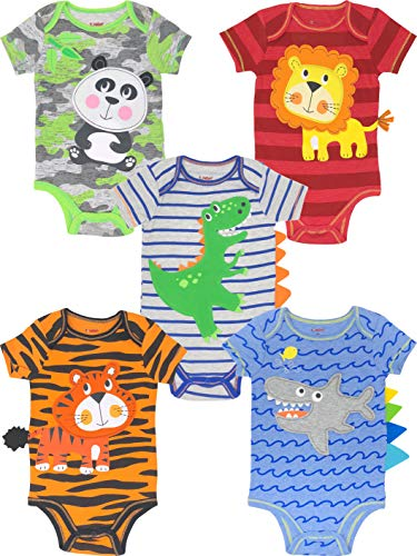 Funstuff Baby Boy Girl 5 Pack Animal Bodysuits Lion Panda Dinosaur Tiger Shark (12 Months)