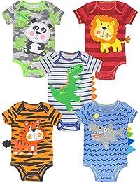 Baby Boy Girl 5 Pack Onesies Newborn Infant Gift Bodysuits