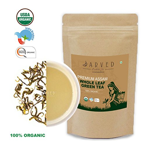 Jarved 100% Organic Orthodox Whole Loose Leaf Natural Handmade Assam Green Tea: Single Blend, Premium Grade, Fair Trade, USDA Certified, (45 Cups, 3.5oz) in Eco Friendly ziplock- Farm to (Certified Organic Assam Tea)