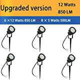 Hypergiant 12W LED Landscape Lights Low Voltage (AC/DC 12V or DC 24V) Waterproof Garden Yard Path Lights Super Warm White(850LM) Walls Trees Flags Outdoor Spotlights with Spike Stand (6 Pack)
