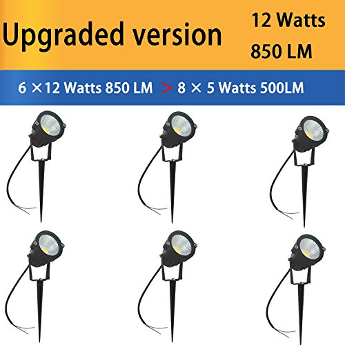 Hypergiant 12W LED Landscape Lights Low Voltage (AC/DC 12V) Waterproof Garden Yard Path Lights Super Warm White(850LM) Walls Trees Flags Outdoor Spotlights with Spike Stand (6 Pack)