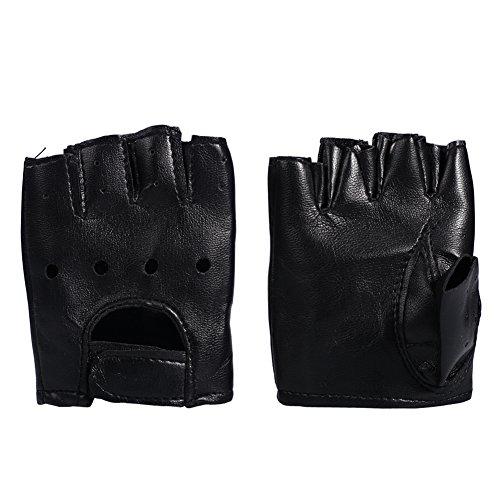 (PU Leather Black Stud Punk Gothic Rock Fingerless Gloves Nightclub Costume Mitten Special Occasion Gloves for Men Women Kids)