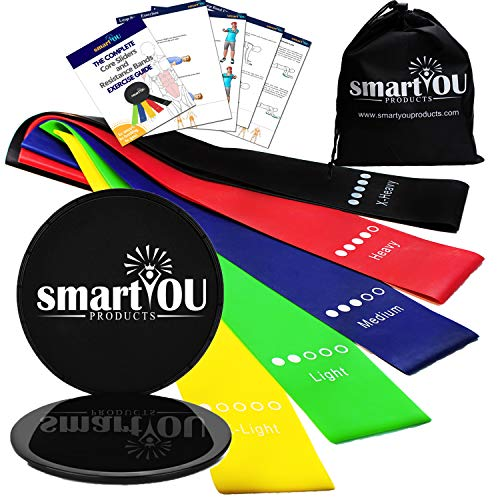 Resistance Loop Exercise Bands (5) and Core Sliders (2) with carrying bag - Home Fitness Equipment for Arms, Shoulders, Legs, Butt, Physical Therapy, Stretching, Strength, Ab Workout and an eBook. from smartYOU Products