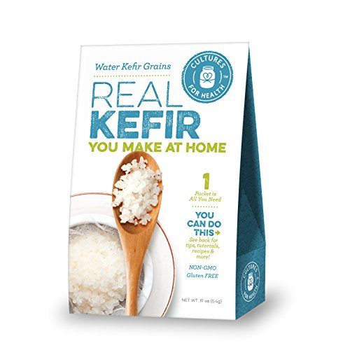 Cultures for Health Water Kefir Grains - Heirloom Organic non-GMO Live Dehydrated Starter - Makes Carbonated Probiotic Soda Replacement - Can Be Used With Coconut Water, Perfect For Grolsch Bottles