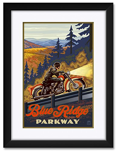 (Blue Ridge Parkway North Carolina Motorcycle Climb Framed & Matted Art Print by Paul A. Lanquist. Print Size: 12