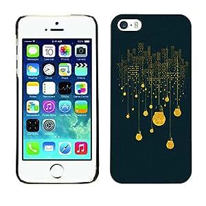 TopCaseStore / la caja del caucho duro de la cubierta de protección de la piel - Electric Bulb City Lights Skyscrapers Art - Apple iPhone 5 / 5S