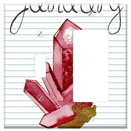 1-Toggle 1-Rocker/GFCI Combination Wall Plate Cover - Birthstone January Garnet Red Stone Jewel Roc