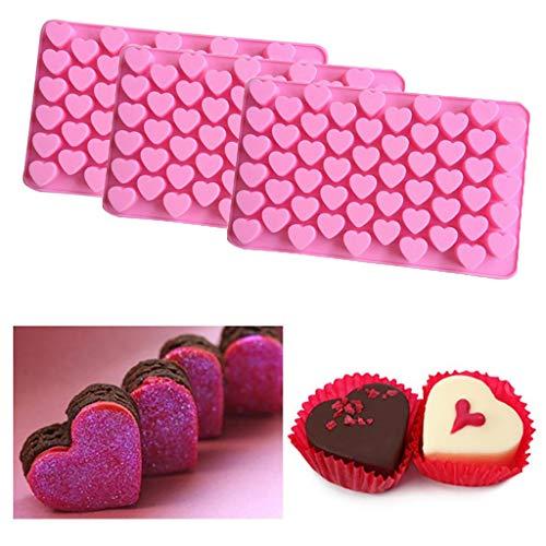 Maikouhai 3 Pcs Mini 55 Hole Heart Shape Silicone Mold For Candy Chocolate Cake Ice Cube Jello Mousse Mould DIY - Single Hole 0.6x0.48x0.56 Inch, Mould Size 7.4x4.4x0.52 Inch, Food - Ice Bongs Glass