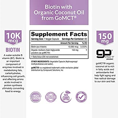 Biotin 10,000mcg - with 100% Organic Coconut Oil from (Patented) goMCT High Potency Biotin for Hair Growth, Nail & Skin Health Non-GMO & Vegan Hair, Skin, and Nail Vitamins, 60 Capsules