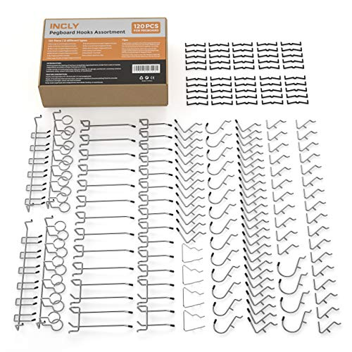 (Incly 120 PCS Peg Board Hooks Set Pegboard Hook Assortment Organizer Bins Hanging Pegboard Accessories)