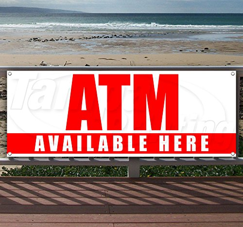 (ATM 13 oz Heavy Duty Vinyl Banner Sign with Metal Grommets, New, Store, Advertising, Flag, (Many Sizes Available))