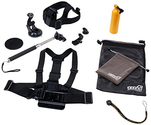 EEEKit Starter Accessory case for Gopro Hero 5 4 black sliver 3+ 3,Accessory Kit for SJ4000 SJ5000 SJ6000,for DBPOWER/WiMiUS/SJCAM Action Camera