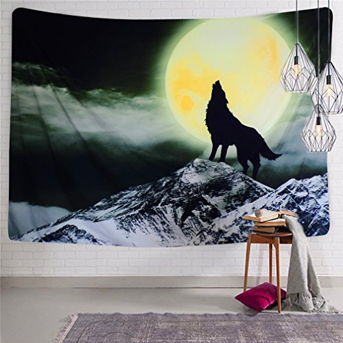 Wolf Wall Tapestry Wall Hanging Animal  Wolf Howling