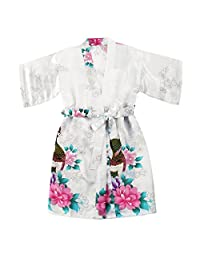 Happy childhood Toddler Girls' Satin Kimono Robe Peacock Blossoms Bathrobes Weeding Gown SPA Wedding Birthday Ages 1-12