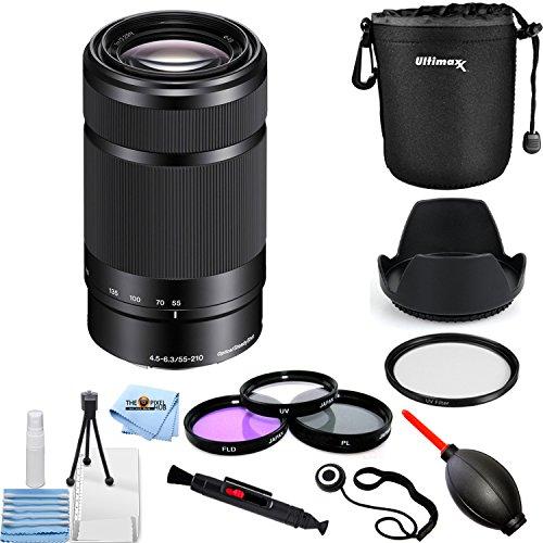Sony E 55-210mm f/4.5-6.3 OSS Eマウントレンズ (ブラック) #SEL55210/B PROバンドル レンズポーチ、フィルターキット、UVフィルター、チューリップフードレンズなど付き   B07MCVLNNB