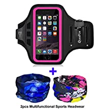 "Sports Armbands for iPhone 7 6/6s, Galaxy S8/S8 S7 S6, QUANFUN Fitness Running Workout Gym Jogging Case Holder Arm Band with Headwear Headband for LG G5, Fits 4.7"" to 5.1"" Phones"