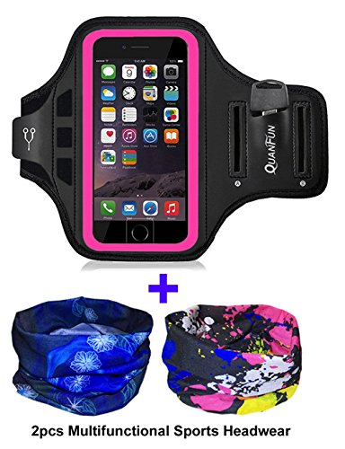 Armband for iPhone X iPhone 8, Sports Running Gym Workout Fitness Armbands Arms Holder Case Cell Phone Armband with Extension Strap for iPhone X/8/7/6/6s, Galaxy S8, S7, S6, Black …