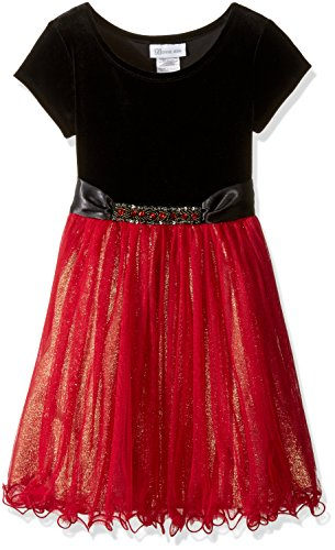 Bonnie Jean Big Girls' Foil Skirt Jewels, Red, 8 - Bonnie Jean Velvet Skirt