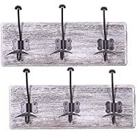 """Rustic Wall Mounted Coat Rack with 3 Sturdy Hooks – Set of 2 – Vintage Entryway Wooden Coat Racks – Rustic Rack for Coats, Bags, Towels and More –17.5"""" x 6.10""""– Torched Wood"""