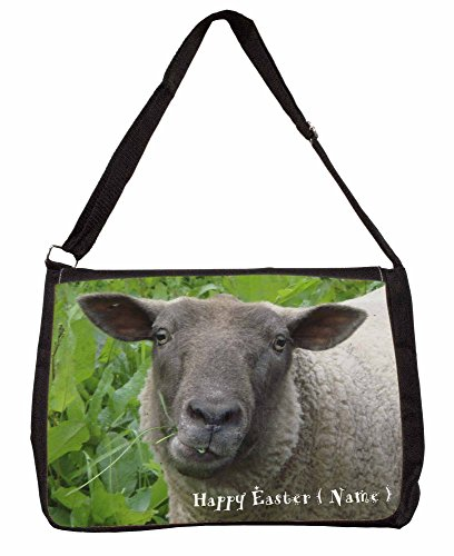 Personalised Easter Sheep Large 16 Black School Laptop Shoulder Bag TaWpULJUrI