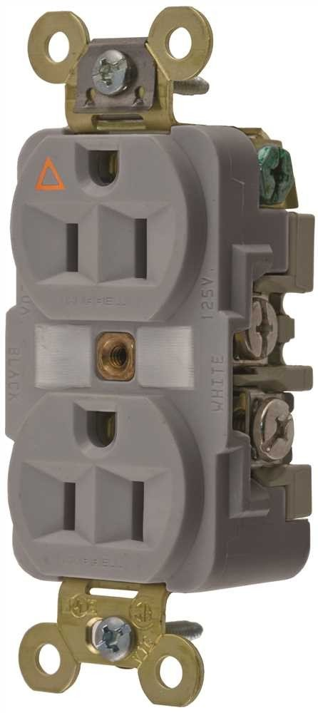 Hubbel IG5262GY Duplex Receptacle Isolated Ground 15 Amp Gray