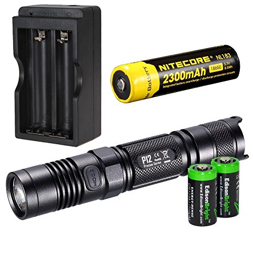 NITECORE 1000 Lumen 2015 version P12 high intensity CREE XM-L2 LED long throw tactical flashlight with Nitecore NL183 rechargeable 18650 li-ion Battery, charger and 2 X EdisonBright CR123A Lithium Batteries Bundle by EdisonBright