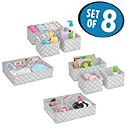 mDesign Soft Fabric Dresser Drawer and Closet Storage Organizer Set for Child/Kids Room, Nursery - Includes Large and Small Organizers - Polka Dot Pattern, Set of 8, Light Gray with White Dots