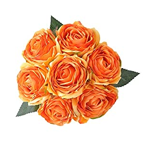 Blooming Paradise Artificial Fake Flowers Plants Silk Rose Flower Arrangements Wedding Bouquets Decorations Plastic Floral Table Centerpieces Home Kitchen Garden Party Festival Bar DIY Décor (Orange) 47
