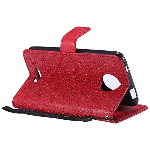 Funda Motorola Moto C, SsHhUu Funda PU Piel Genuino Carcasa en Folio [Ranuras para Tarjetas] [Cierre Magnetico] con Acollador para Motorola Moto C (5.0) (Not fit for Moto C Plus) - Rose Oro Rojo