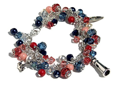 Swarovski Crystal Charm Bracelet in Navy Blue and Coral with Nautical Charms