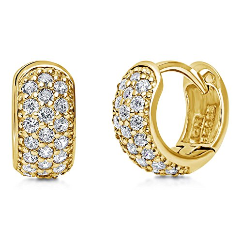 BERRICLE Yellow Gold Flashed Sterling Silver Cubic Zirconia CZ Small Fashion Hoop Huggie Earrings 0.5