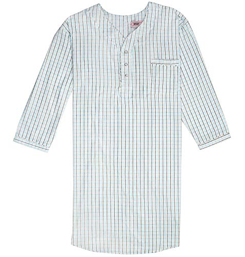 Men's Nightshirt Gown Long Sleeve Light Weight Cotton Poly (Black & White Plaids, X-Large)]()