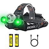 BESTSUN LED Hunting Headlamp with Green Light, USB Rechargeable Green Headlamps Flashlight for Coyote Hog Hunting, Fishing, Caving and Camping(Battery Included)