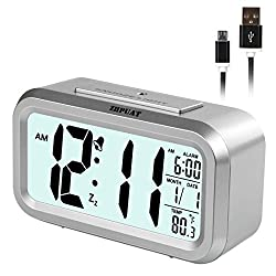 ZHPUAT [New Version Smart Light Alarm Clock with Dimmer, Both Cord and Batteries Supply with Easy Operation (Sliver)…