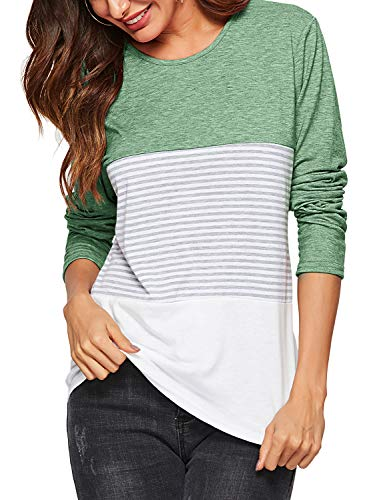 Amoretu Women's Long Sleeve Round Neck T Shirts Casual Striped Blouses Tops Green XXL