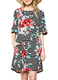 ZESICA Women's Floral Striped Ruffle Sleeve Casual Swing Tunic Dress with Pockets