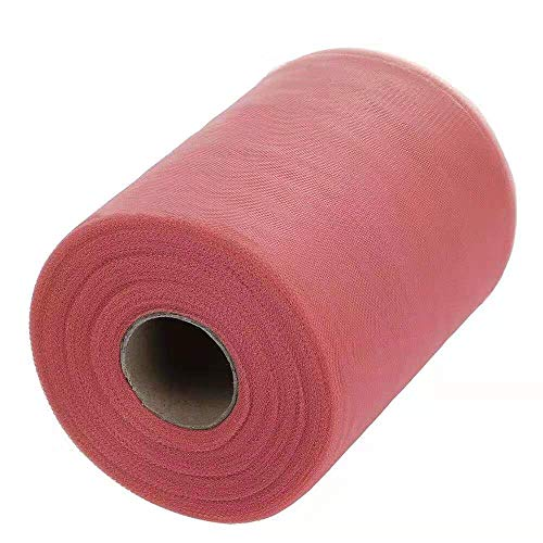 Tulle Roll Spool Fabric for Sewing, Table Skirt and Wedding Decoration,Many Colors Available, 6 Inches by 100 Yards! (Dusty Pink)