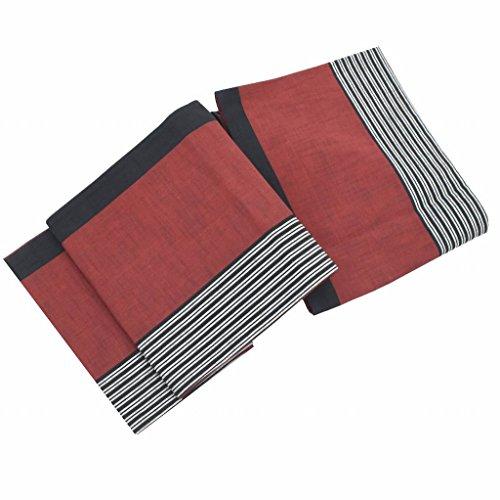記者エンディング加速度(着物ひととき) 京袋帯 リサイクル 中古 交織 ふくろおび 洒落袋 縞文様 紬地 赤系 ll1861b
