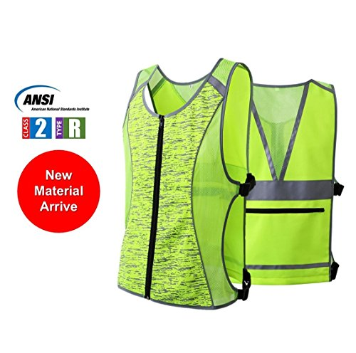 Hi Vis Zipper Vest (JKSafety Class 2 High Visibility Zipper Front Reflective Vest for Cycling, Jogging, Walking, Outdoor Sports - Adjustable, Yellow for Men and Women (Sport-M, Yellow))
