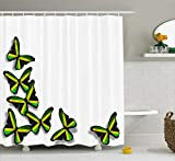 Ambesonne Jamaican Shower Curtain, Buterflies Flag Motifs Caribbean Animal Illustration Rasta Culture Print, Cloth Fabric Bathroom Decor Set with Hooks, 70' Long, Green Black Yellow