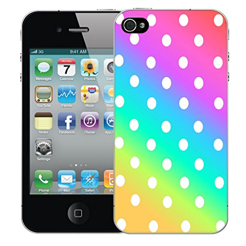 Mobile Case Mate iPhone 4s Silicone Coque couverture case cover Pare-chocs + STYLET - Rainbow Polka pattern (SILICON)