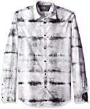 Image of Calvin Klein Jeans Men's Long Sleeve Static Print Button Down Shirt, White, Medium