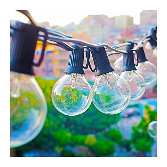 ZITRADES Globe String Lights with G40 Bulbs UL Listed 25ft Outdoor String Lights for Patio Garden Commercial Party - Brighten up your space with our 25ft G40 Patio String Lights. Each strand includes 25 clear, vintage style bulbs, so you can bring a little magic and charm to your patio, backyard, bedroom, party…whatever! Suitable for indoor or outdoor use, G40 string lights designed with Edison Vintage style filaments, produce a moderate, ambient light at 500lm per bulb. The electrical plug with a spare fuse for short circuit protection .UL listed ,AC 110v ,you can connect up to 3 strings to light up even larger spaces. - patio, outdoor-lights, outdoor-decor - 51TWcajWJEL. SS570  -