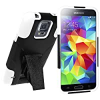 Amzer Double Layer Hybrid Case Cover with Kickstand for Samsung Galaxy S5 - Retail Packaging - White/ Black