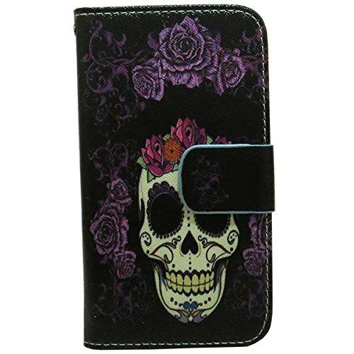 1x Cute Patterns Wallet Card Slots Kickstand Flip case cover for LG X style / Tribute HD / Volt 3 / LS676 (Big Skull) (Skull Lg Volt Cover)