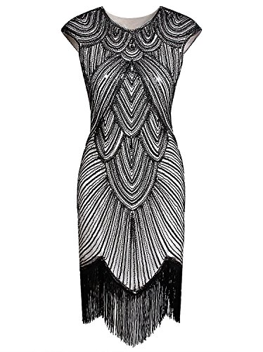 Vijiv Wome's 1920s Flapper Dress Costume Sleeves Sequin Beaded Cocktail Gatsby Dress,X-Large,Black White ()