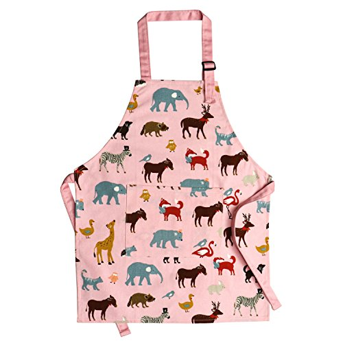 Jennice House Childrens Aprons 100% Pure Cotton Canvas Kids Artists Aprons with Adjustable Neck Strap and Pocket Animal Print Child Chef Aprons for Boys and Girls